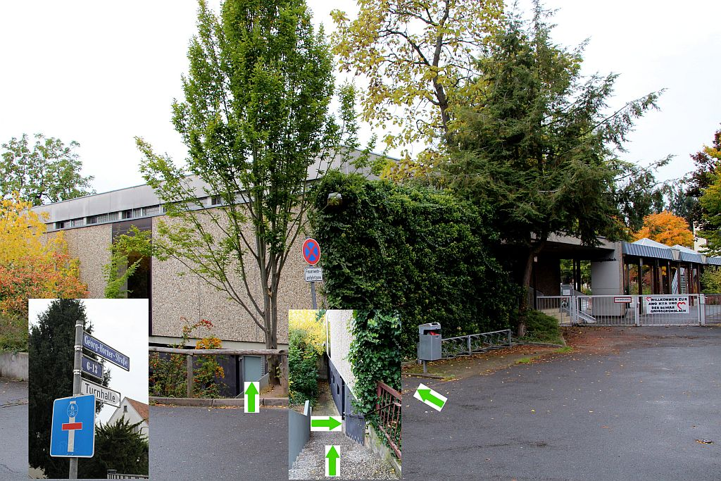 Collage Turnhalle mit Adresse web